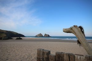 low tide at holywell bay